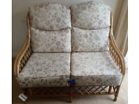 "NEW 2 SEATER CANE HIGH BACKED SOFA WITH CUSHIONS - CONSERVATORY 48"" x 36"" x 28"""