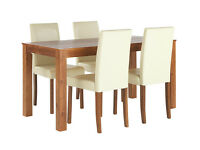 HOME Newton Dining Table and 4 Chairs - Walnut Stain Cream