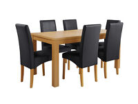 HOME Linwood Ext Table & 6 Skirted Chairs -Oak Veneer Black