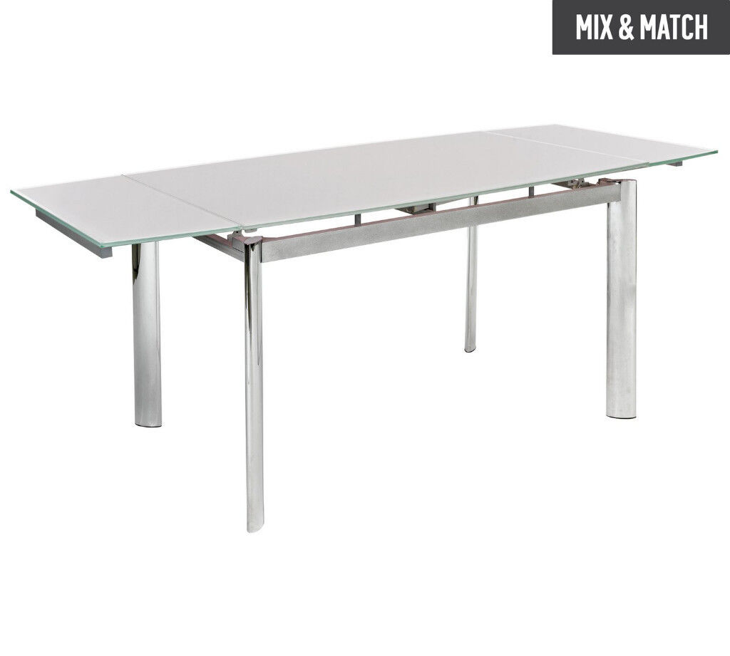 Hygena Erik Extendable Glass 8 Seater Dining Table - White