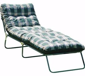 2 x Multi-Position Sun Lounger with Cushion - Green