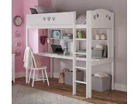 Argos Home Mia High Sleeper Bed Frame, Desk & Shelves - White RRP £300