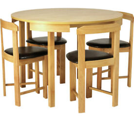 Hygena Alena Circular Solid Wood Table & 4 Chairs - Black