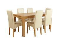 HOME Linwood Ext Table & 6 Skirted Chairs -Oak Veneer Cream