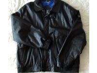 M&S Black Genuine Leather Man's Bomber Jacket