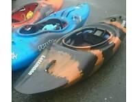 Lettamann rage river runner kayak + carbon fiber paddle + neoprene spray deck