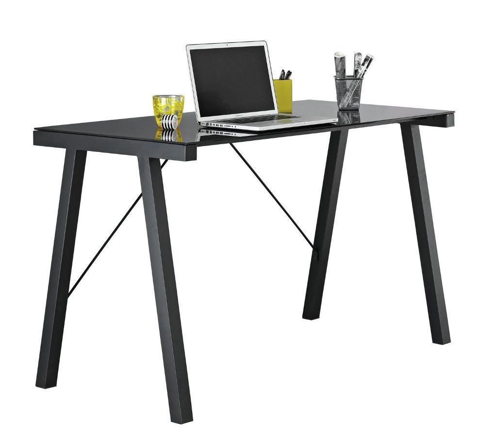 Argos Falco Black Glass Office Desk Table