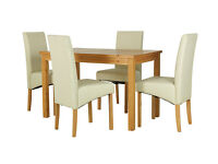 HOME Lincoln Solid Pine Table & 4 Chairs - Oak Effect Cream