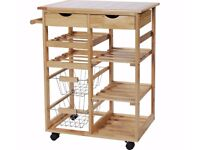 USED Pine Tile Top Kitchen Trolley