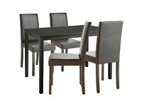 Alcott Dining Table & 4 Chairs - Black