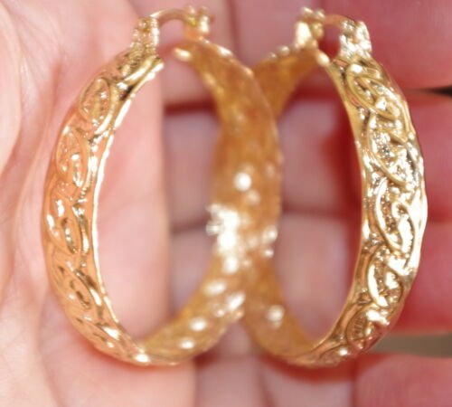 GORGEOUS 14K GOLD FILLED PERFECT LARGE FANCY 35MM TWISTED  HOOP EARRINGS