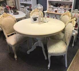 Shabby chic Louis round Dining table & 4 chairs