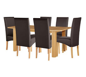 HOME Stonebury Ext Table and 6 Chairs - Oak Stain Chocolate
