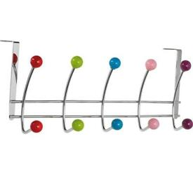 Overdoor chrome ball coat hooks