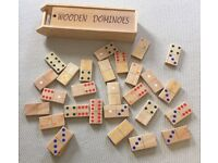 LARGE WOODEN DOMINOES WITH WOODEN CARRY CASE