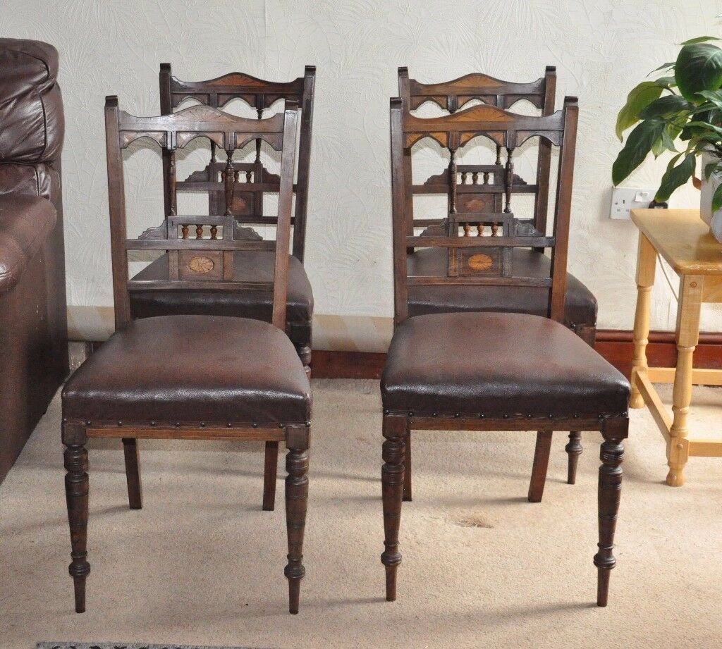 EDWARDIAN INLAID MAHOGANY SALON CHAIRS x 4. Will deliver