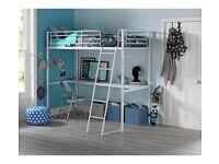 IKEA Svarta Loft Bed (High Sleeper) with Desktop in WHITE FRAME