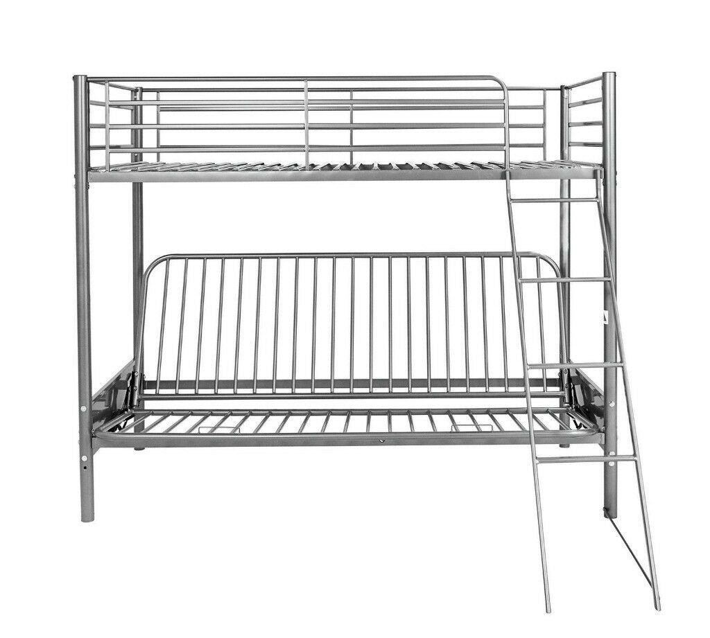 Metal Futon Bunk Bed Frame Silver In Bramley West Yorkshire