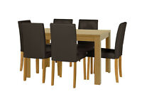 HOME Penley Extendable Dining Table and 6 Chairs Chocolate -Oak Stain