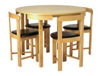 Hygena Alena Circular Solid Wood Table & 4 Chairs - Black