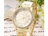 ladies fashion gold watch