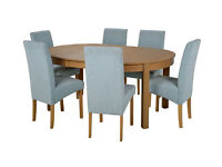Collection Massey Dining Table&6 Chairs-Wood Effect Duck Egg