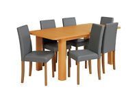 HOME Heyford Ext Oak Veneer Dining Table & 6 Chairs - Grey