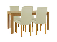 HOME Penley Ext Dining Table and 4 Chairs - Oak Stain Cream