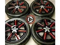 "17"" Genuine Audi alloys Caddy Golf refurb black/red excel cond premium tyres."