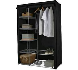 HOME Metal and Polycotton Double Wardrobe - Black USED