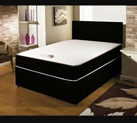 "LEATHER BED WITH A 10"" DEEP MEMORY FOAM ORTHOPAEDIC MATTRESS AND FAUX LEATHER HEADBOARD £139.99"