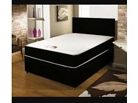 """LEATHER BED WITH A 10"""" DEEP MEMORY FOAM ORTHOPAEDIC MATTRESS AND FAUX LEATHER HEADBOARD £139.99"""