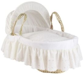 Cuggl Moses Basket (Broderie Anglaise) with My Child Pine Rocking Stand