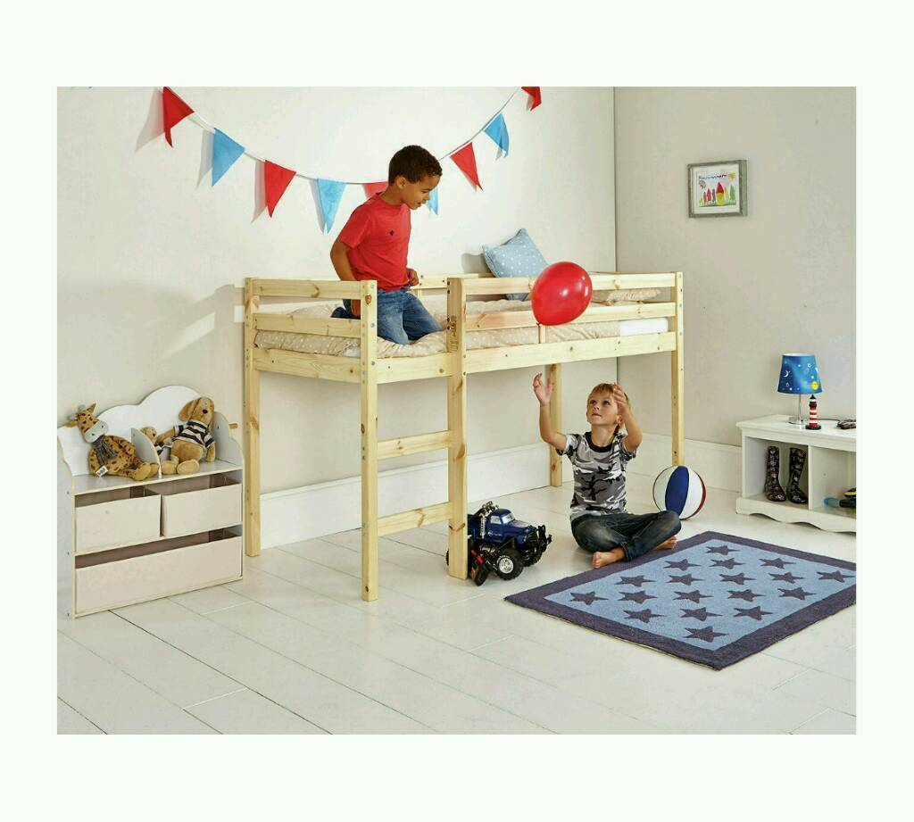 argos wooden mid sleeper shorty bed frame pine