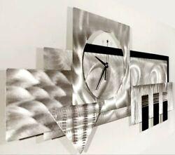 Metal Wall Art Modern Clock Silver Black Contemporary Art Deco by Jon Allen