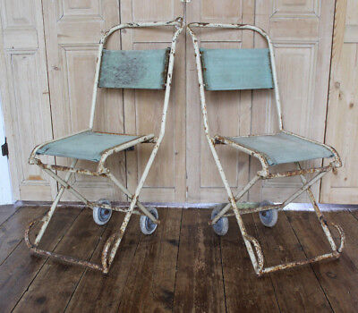 ONE INDUSTRIAL METAL HOSPITAL CHAIR FOLDABLE ANTIQUE VINTAGE WHEELCHAIRS