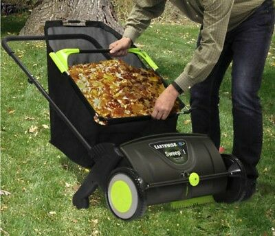 26 Gallon Lawn Sweeper Adjustable Walk Behind Cleaner Push Leaf Grass Collector