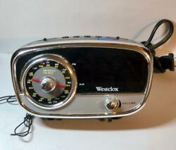 Westclox Retro AM/FM Digital Alarm Clock Radio Model 80193 w/ 3.5mm Aux jack