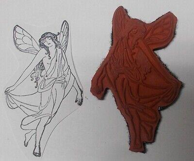 Fairytale storybook mermaid rubber stamp long dress unmounted fantasy lady