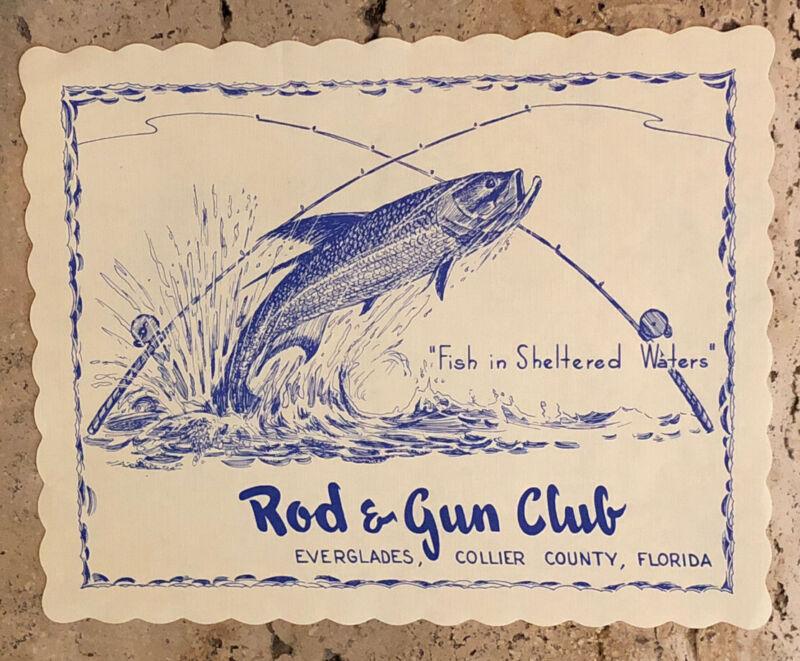 "Rod & Gun Club Everglades FL RARE VINTAGE 1950s RESTAURANT Style PLACEMAT 10""x8"""
