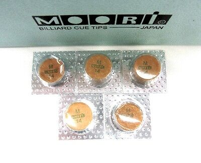 5 Moori Medium Pool Cue Tips 14mm Qty 5 Tips