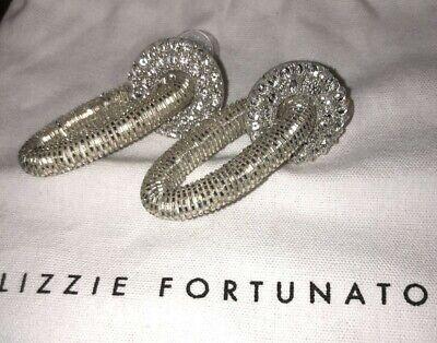 "Lizzie Fortunato Glass And Bead Silver Doorknocker statement earrings 2 3/8""L"