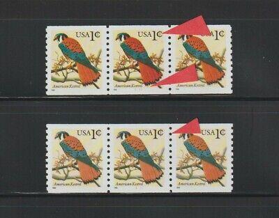 US EFO, ERROR Stamps: #3044 Kestrel Bird. PS3 X2 Plate varieties. #1111 BYCM MNH