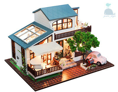 DIY Handcraft Miniature Wooden Dolls House My Summer Holiday house in London for sale  Shipping to United States