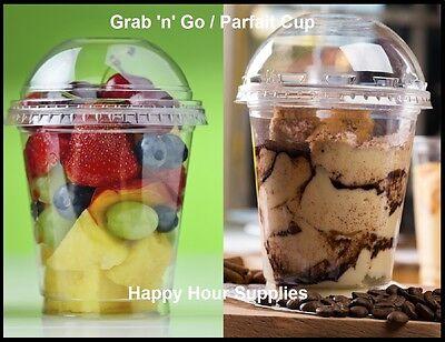 Pack Of 25 Grab N Go Parfait Cup Clear Pet Plastic 12 Oz Cup W Dome Lid