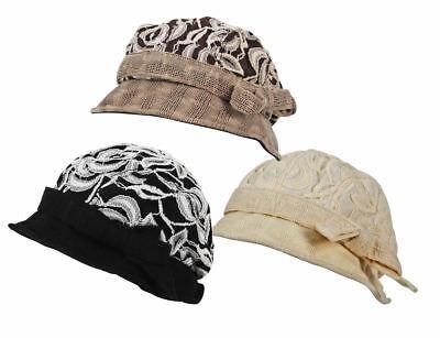 Ladies Vintage Lace / Net Lined Cloche Beret Bow Hat Cap