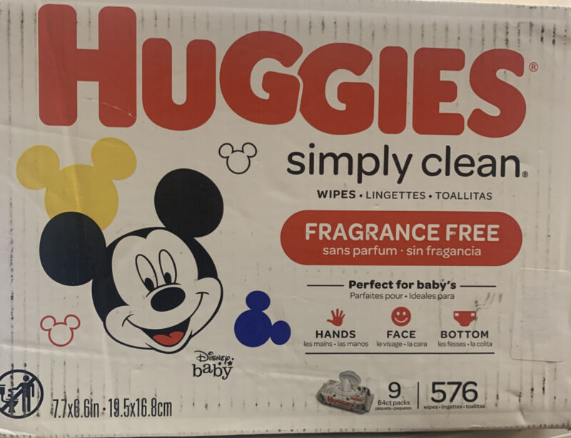 Huggies Simply Clean Baby Wipes Case Unscented 576 Count Soft Pack- READ