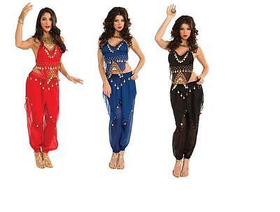 Adult Sexy Deluxe Harem Belly Dancer Arabian Genie Costume  - Adult Arab