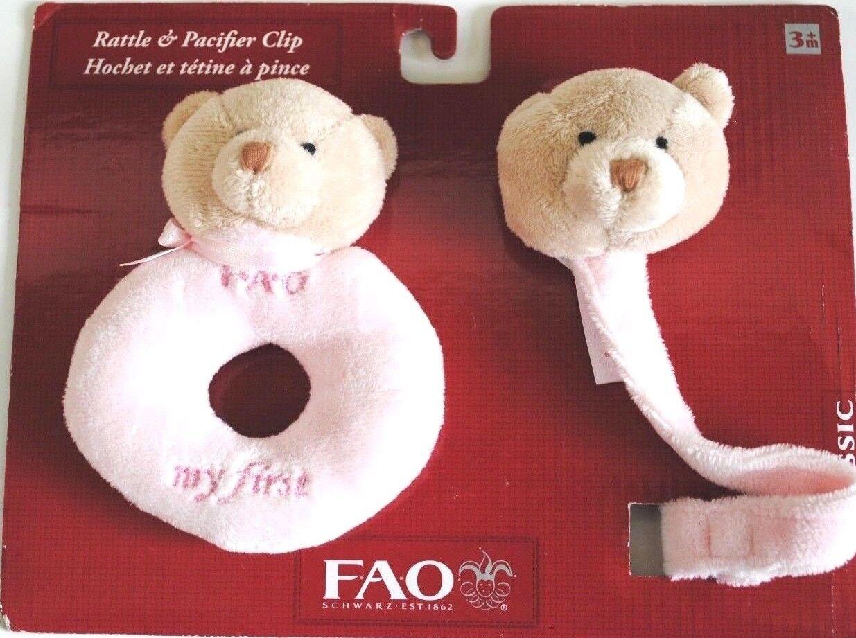 FAO Schwarz Classic Pink Bear Plush Rattle Pacifier Clip - $13.49