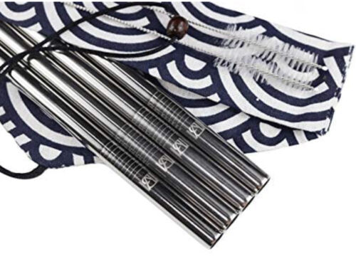 Stainless Steel Boba/Smoothie Straws SILVER Pack of 4